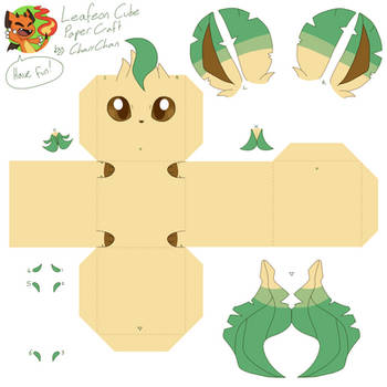 Leafeon Papercraft Cube