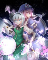 Youmu Konpaku and Yuyuko Saigyouji (+SPEEDPAINT)