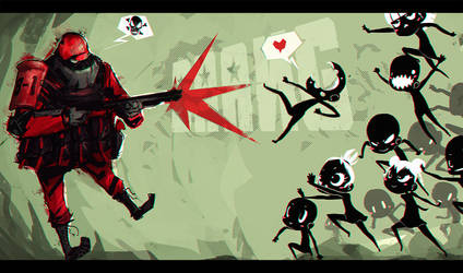 Soldier vs Kawaii by DeadSlug