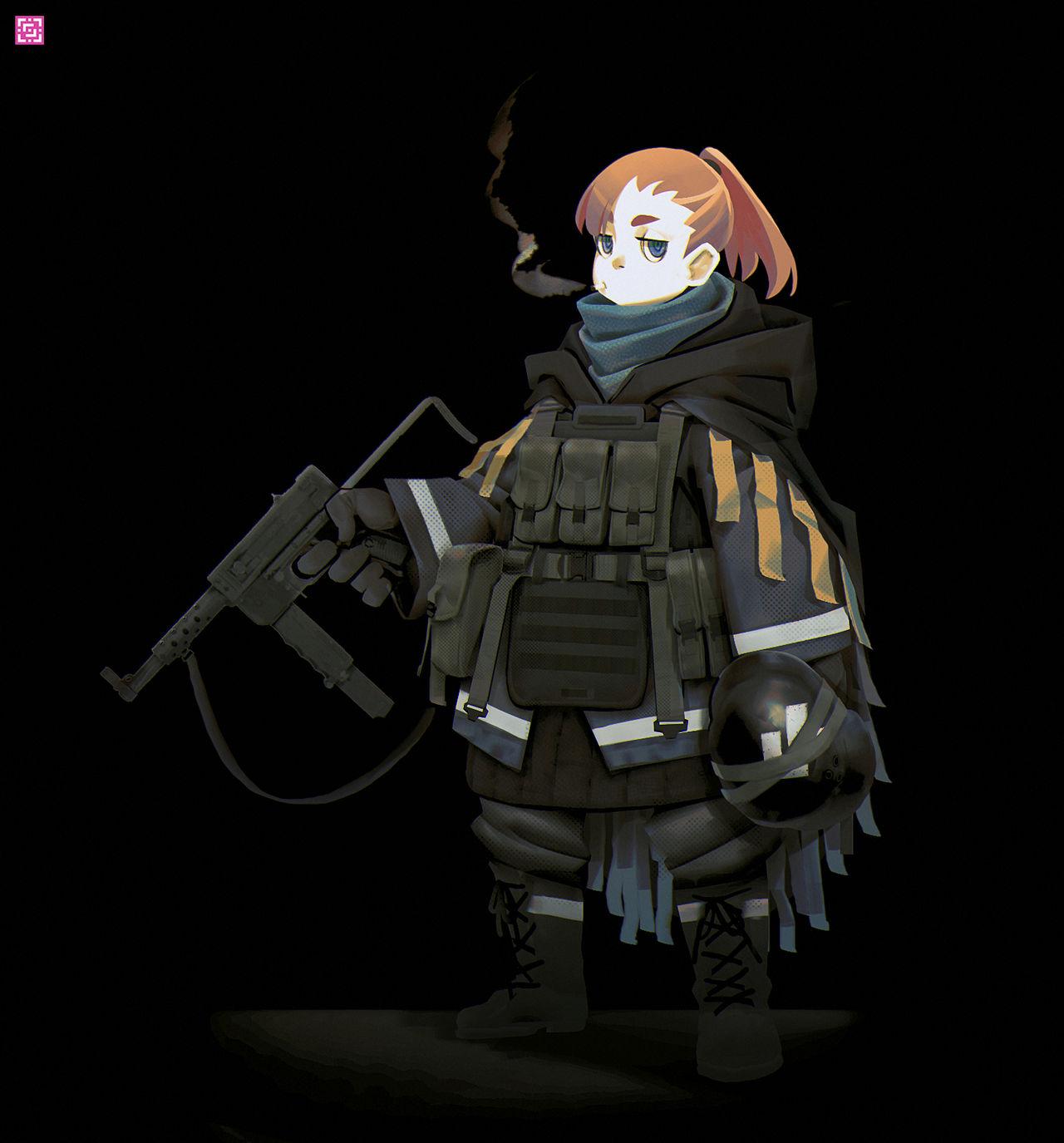 Armed girl by DeadSlug