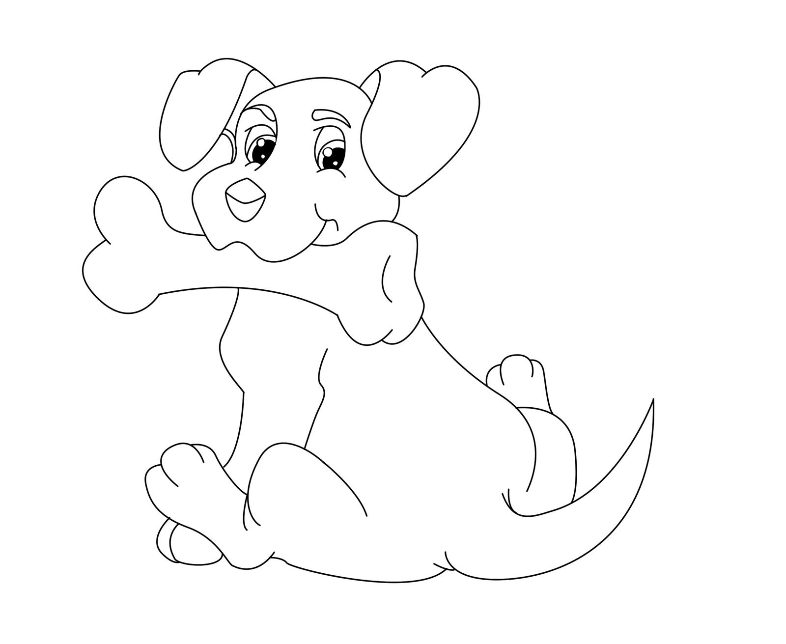 Coloring page dog with bone by the clockwork robot on for Coloring pages of dog bones