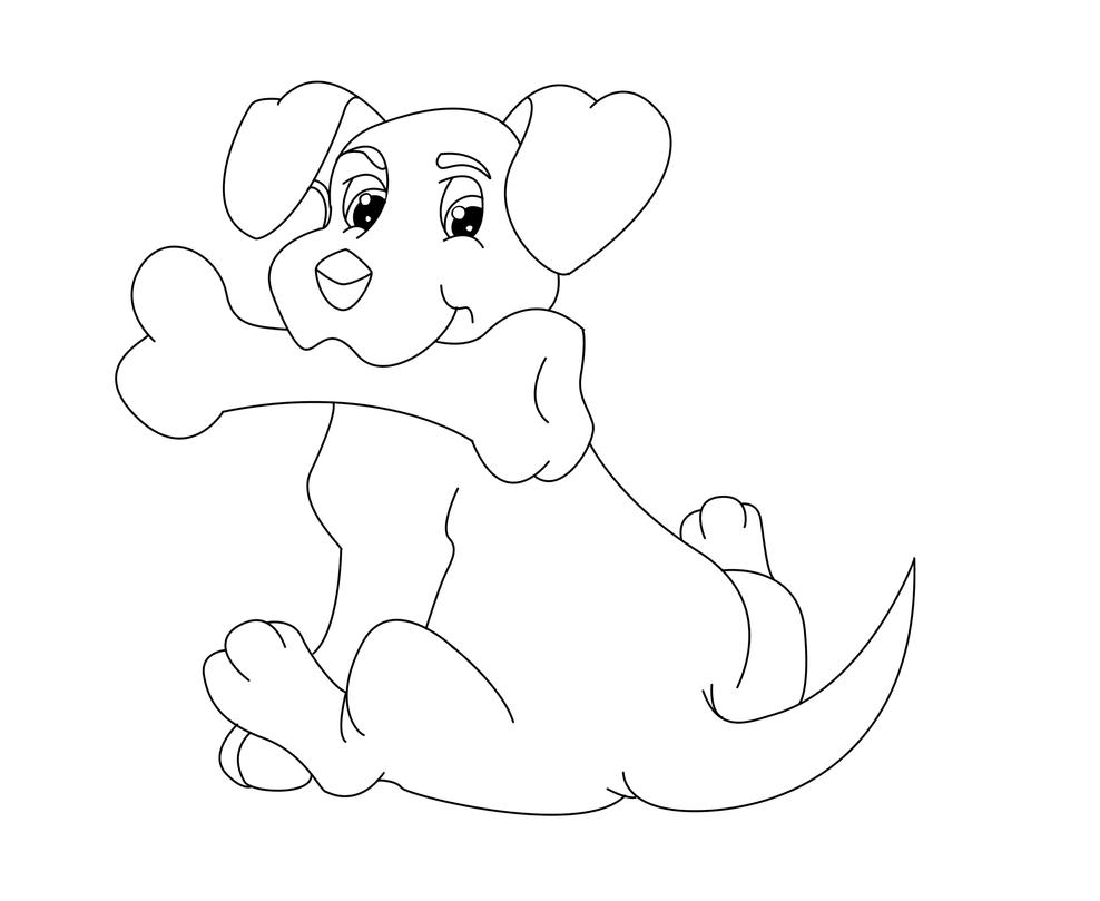 Coloring Page - Dog with Bone by The-Clockwork-Robot on DeviantArt