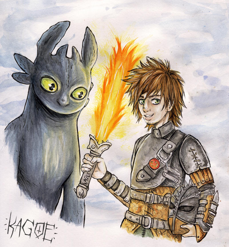 Toothless and Hiccup by Kagoe