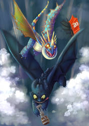 How to Train Your Dragon Toothless and Stormfly by ELLRarte