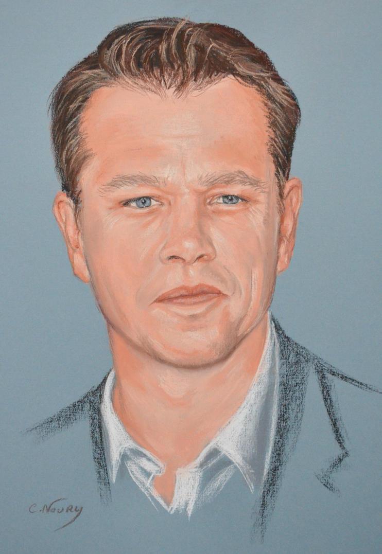 Matt Damon full portrait 'Heforshe' by Andromaque78