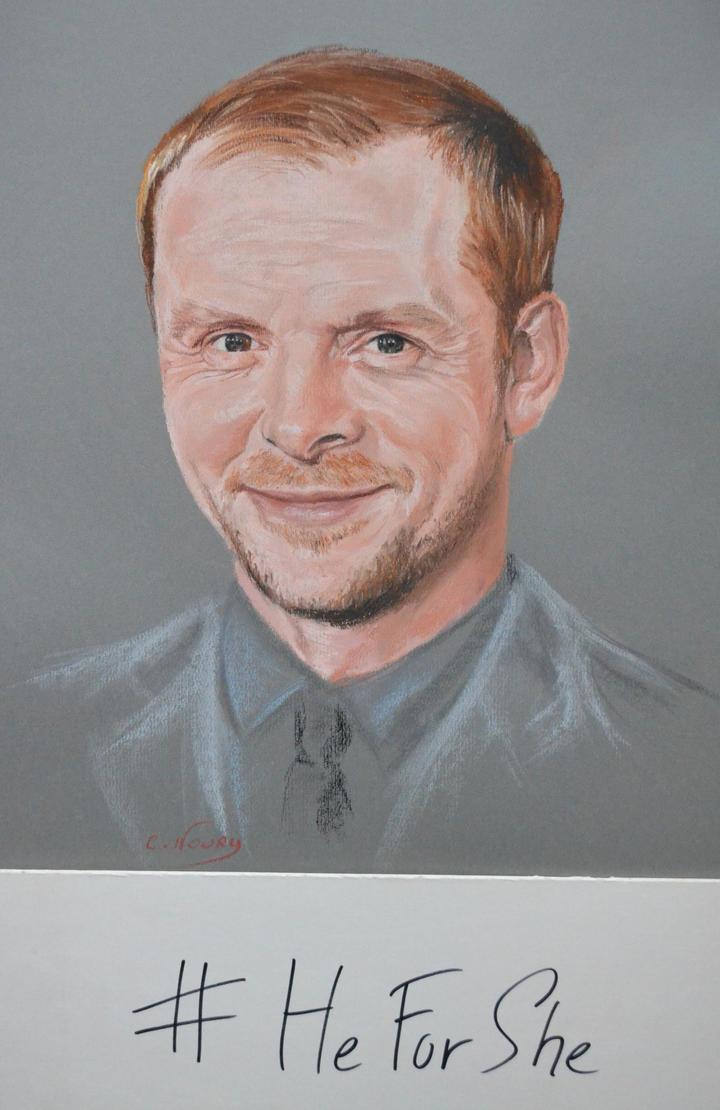 Simon Pegg portrait 'Heforshe' by Andromaque78