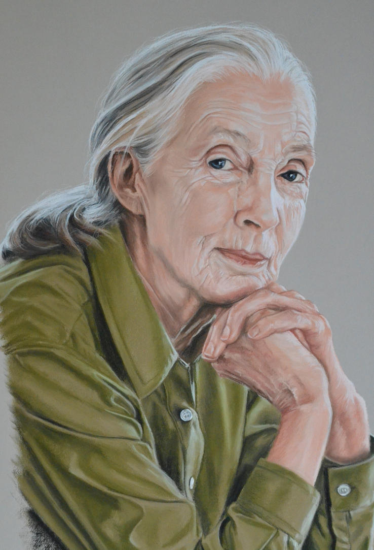 Jane Goodall portrait focus by Andromaque78