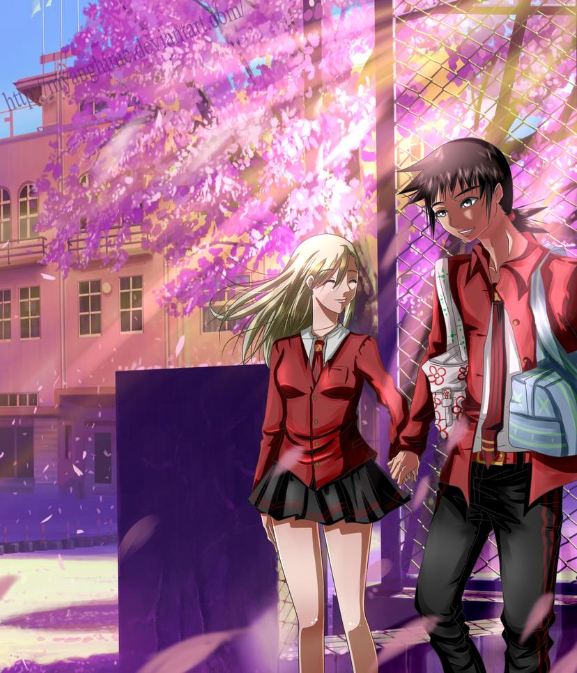 Naruto highschool - Shiho and Idate by MyangHime