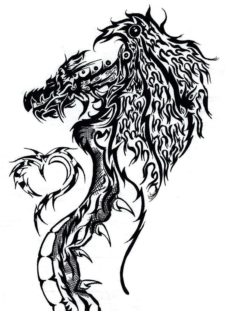 tribal dragon and h3art by crazypepe on deviantart. Black Bedroom Furniture Sets. Home Design Ideas