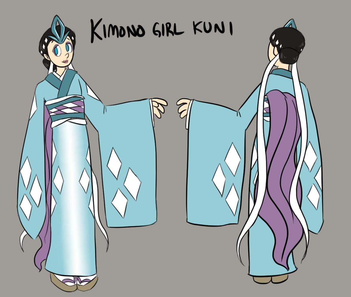 Kimono Girl Kuni- Character Sheet by pettyartist