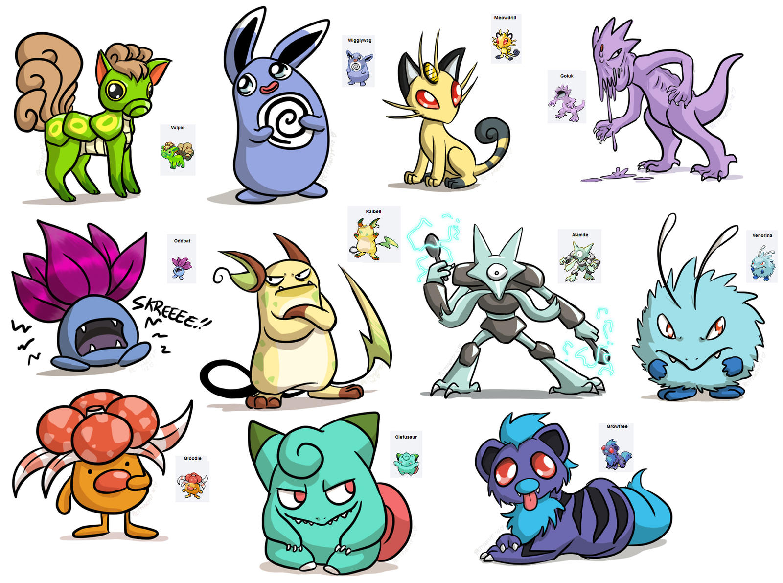 Pokemon Fusions by pettyartist