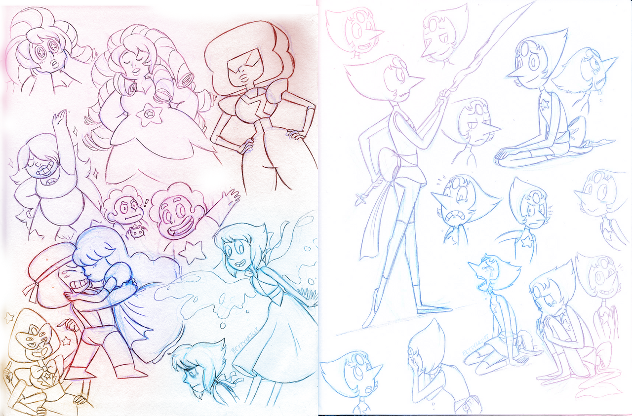 The Crystal Gems-- Sketches by pettyartist