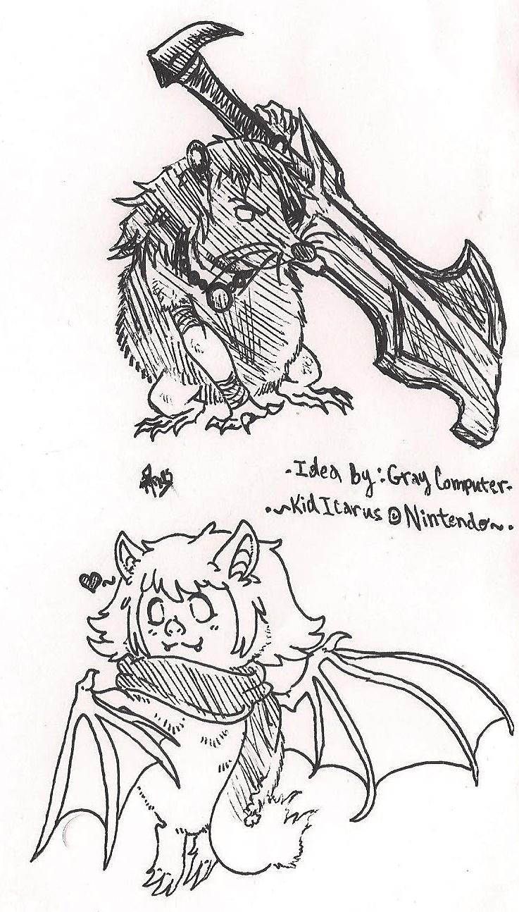 kid icarus rat magnus and bat phosphora by pridealchemist7