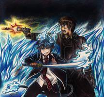 .: -Collab -Rin and Yukio- Okumura Brothers- :. by PrideAlchemist7