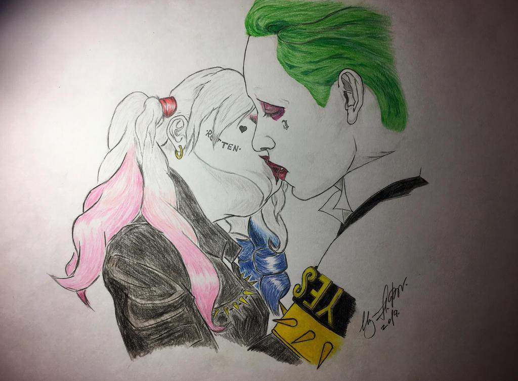 Joker And Harley Quinn Love Drawing Joker and Harley Quinn...