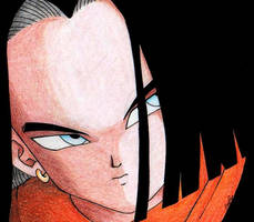 Android 17 close up by Kyokyogirl