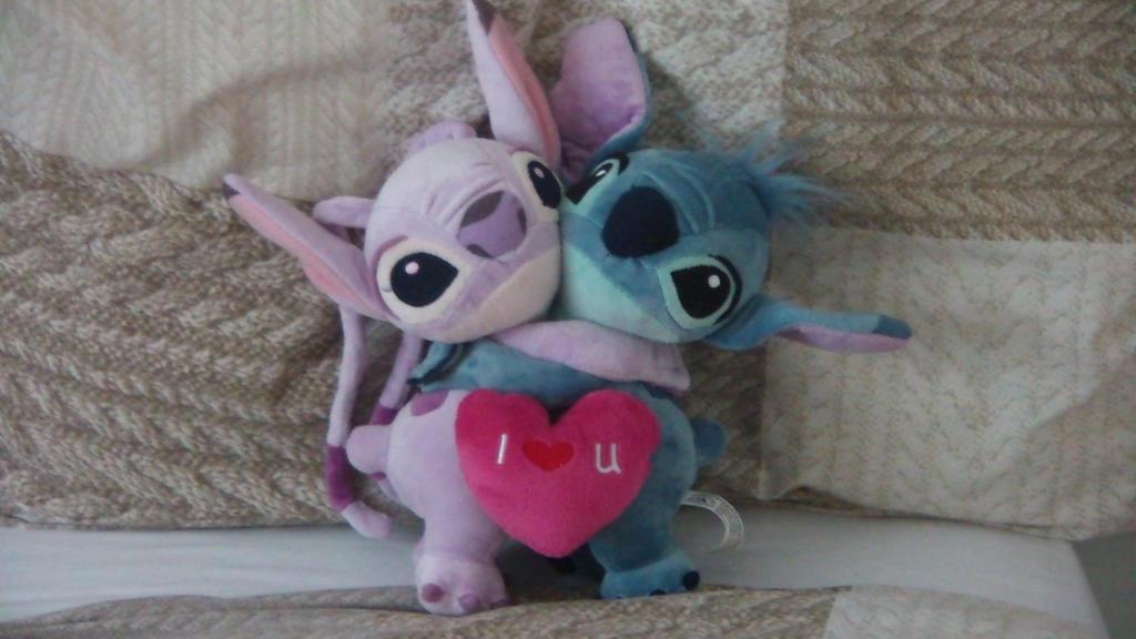 Stitch And Angel Plush Stitch and angel - i heart u