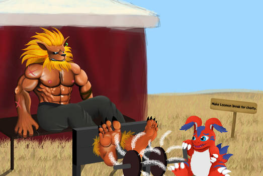 Leomon's Ticklish Charity Tryout