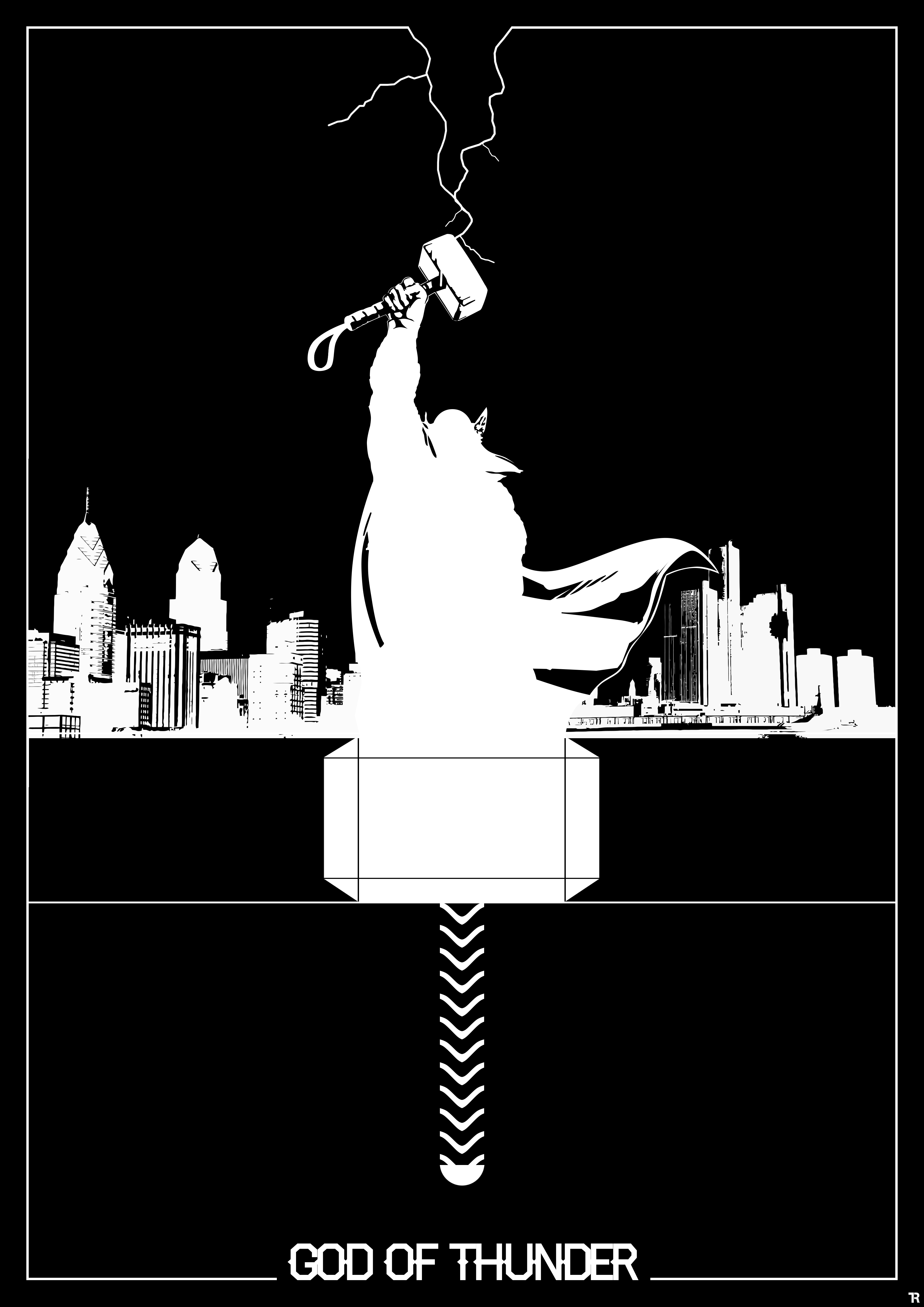 Thor Silhouette in Black and White by R0mainT on DeviantArt