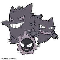 Gastly, Haunter and Gengar by KiiroiKat