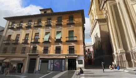 A square in Granada. by HughEbdy