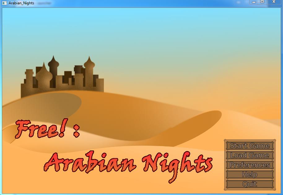 Free! Arabian Nights [Screenshot] - Game Menu by Red-Baby