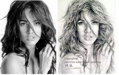 megan fox original pic and  my pencil recreation by jianchen1111