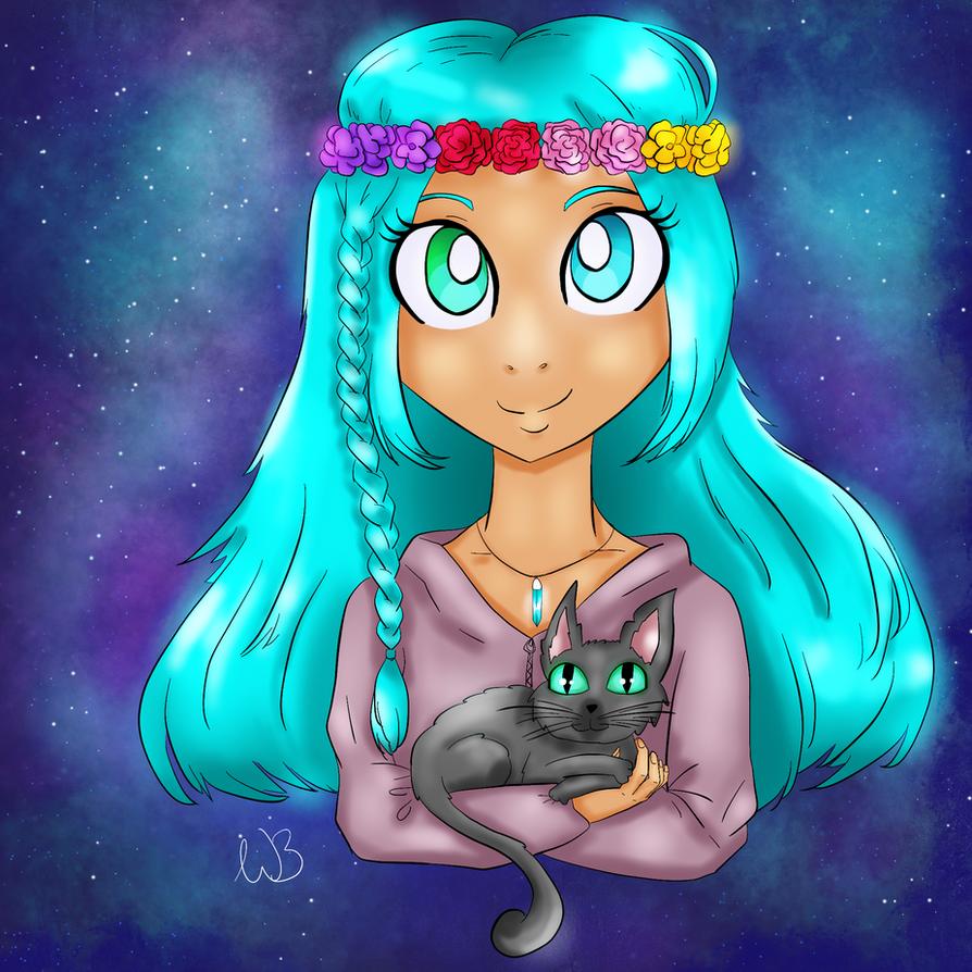 PopJam Fanart - girl with a cat by Integra4Hell