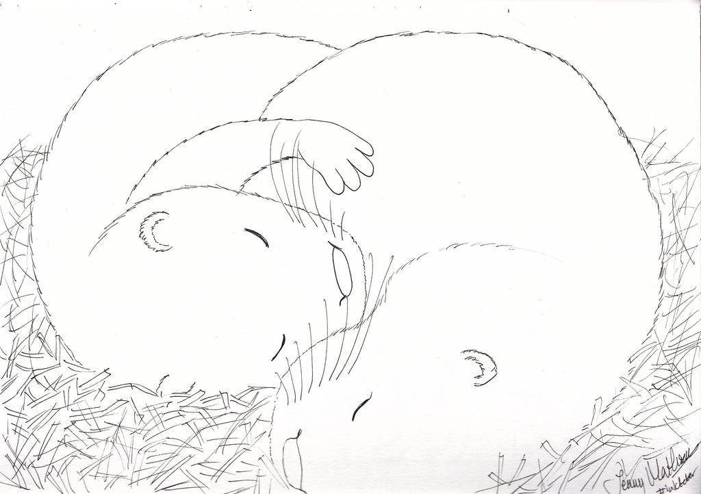 Sleepy otters by jenniology