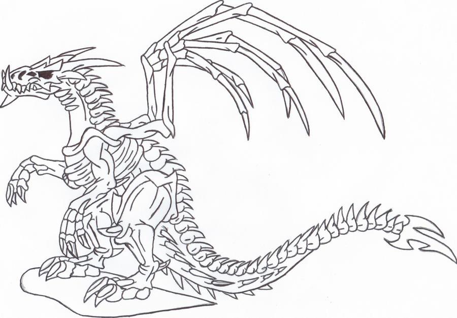 skeleton dragon line art by sunshine-vamp on DeviantArt