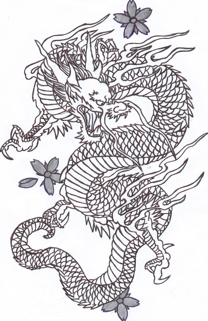 Line Drawing Dragon Tattoo : Chinese dragon by sunshine vamp on deviantart