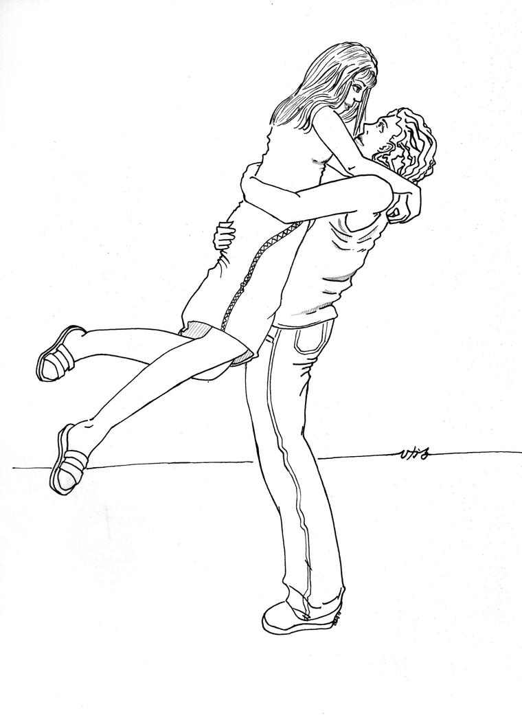 Hugging Couple Drawing Hug Request- Lineart b...