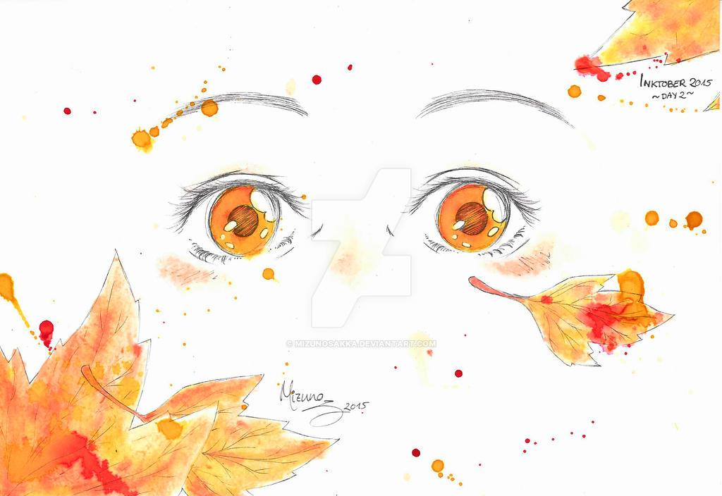 InkTober Project: Watching the Fallen Leaves by MizuNoSakka