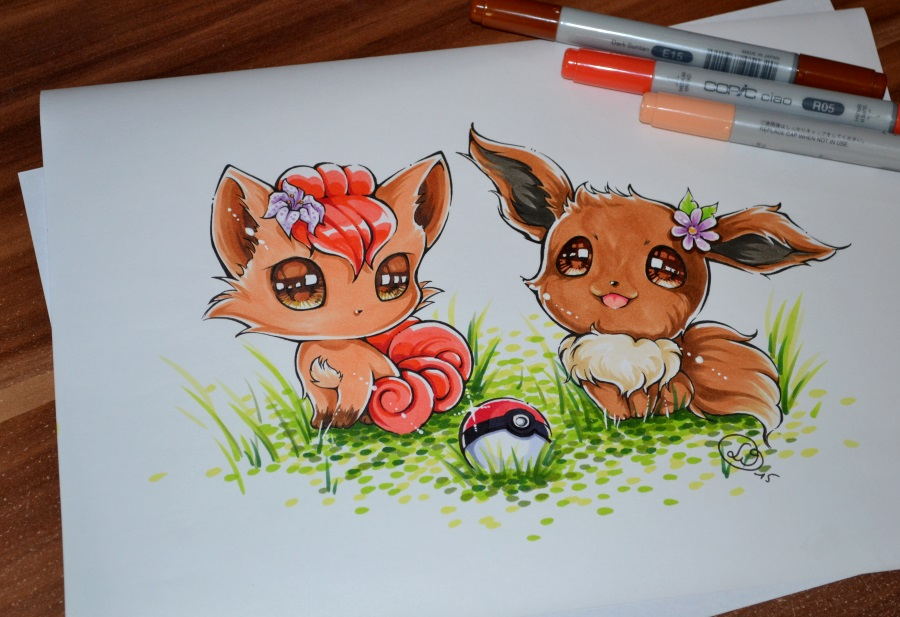 Chibi Vulpix and Eevee...