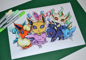 So many Chibi Eeveelutions! by Lighane