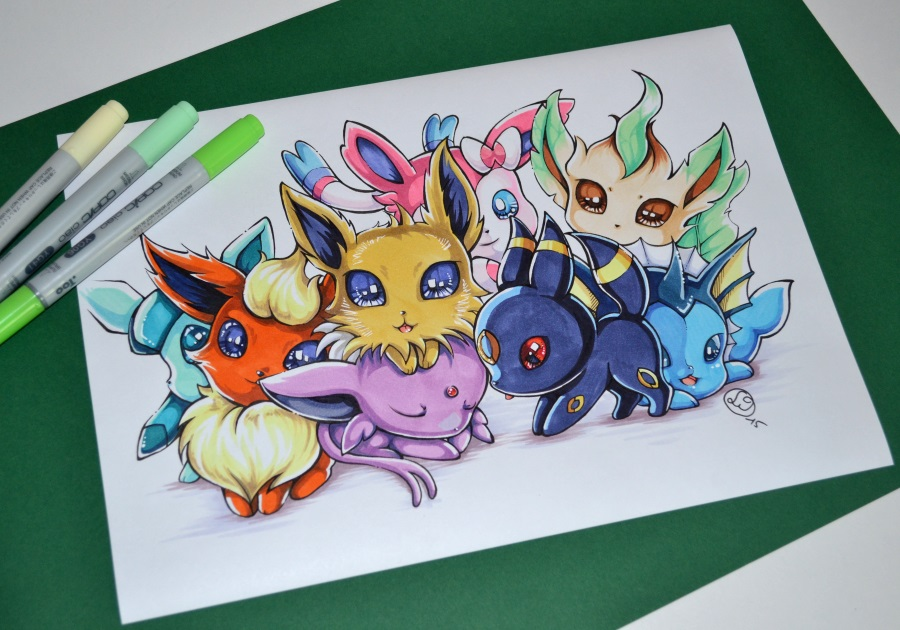 So many Chibi Eeveelutions! by Lighane on DeviantArt