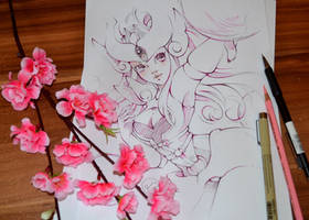 Syndra Sketch and Speedpainting