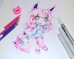 Wigglytuff playing Pogo by Lighane