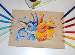 Flareon and Vaporeon in Love