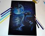 Dragonair and the Moon