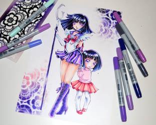 Sailor Saturn and little Hotaru by Lighane