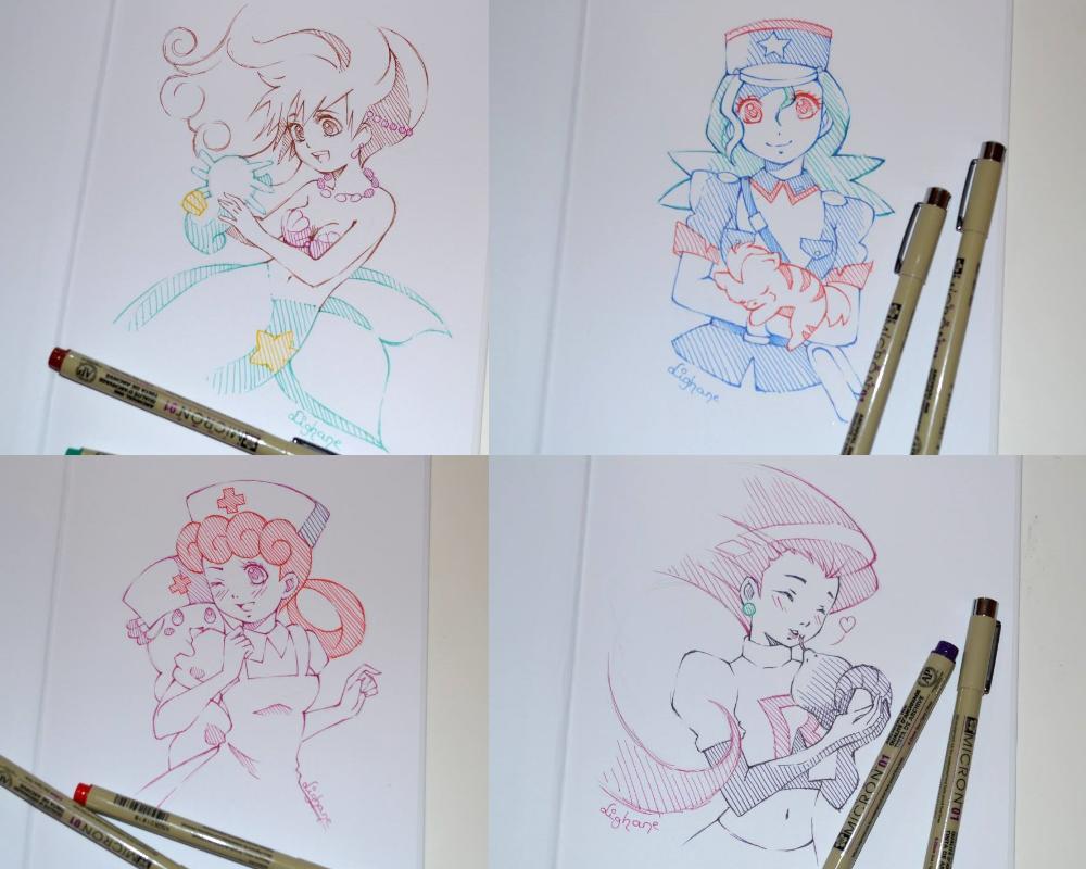 Doodles Pokemon Girls By Lighane