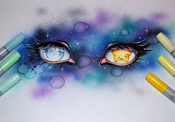 Moon and Stars by Lighane