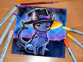Bewitching Cat with Hat by Lighane