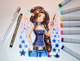 Casual Mage Girl Commission by Lighane
