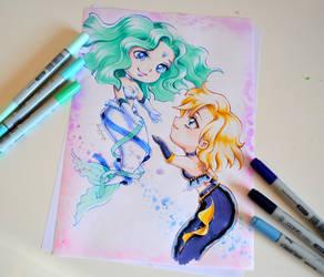 Mermaid Uranus and Neptune by Lighane