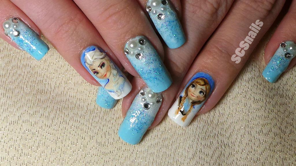 Frozen inspired nail art by sugarcharmshop on DeviantArt