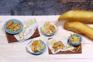 1:12th scale miniature fish n chips