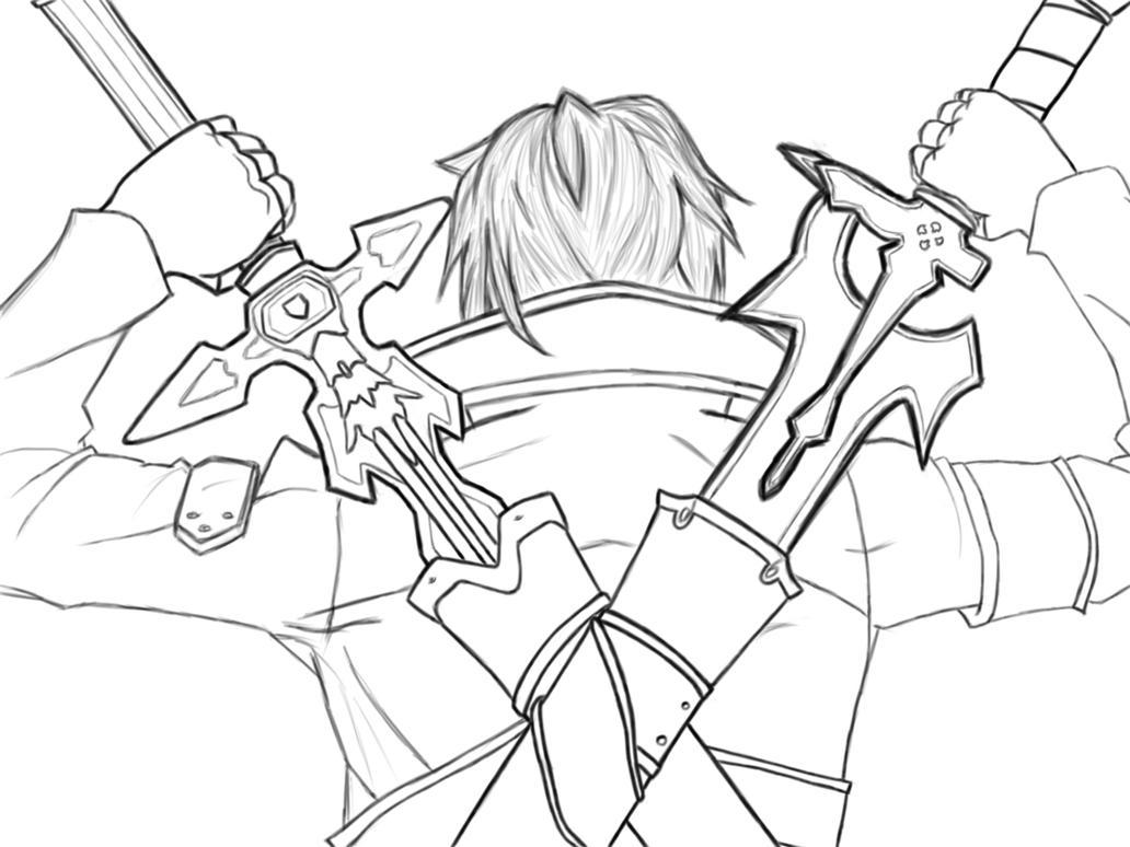 Line Drawing Program In C : Kirito dual wielding by hidiousboy on deviantart