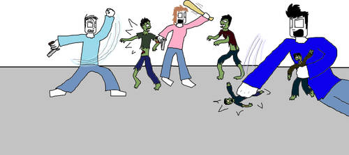 Sam, Mary, Bob fighting zombies by tigerclaw64